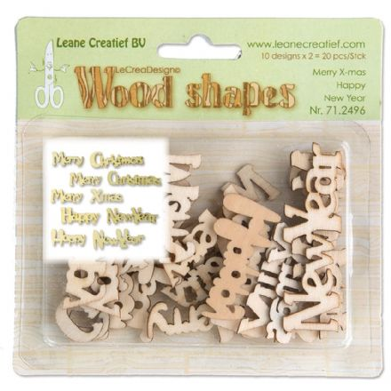 71.2496 ~ MERRY XMAS HAPPY NEW YEAR - WOOD SHAPES ~ by Leane Creatief